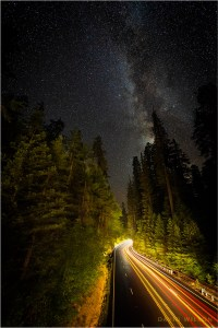US Highway 101, the Redwood Highway, beneath the starry skies.