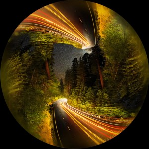 Nighttime scene of US 101 among the Redwoods with a para-symmetrical twist