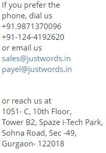 Justwords contact