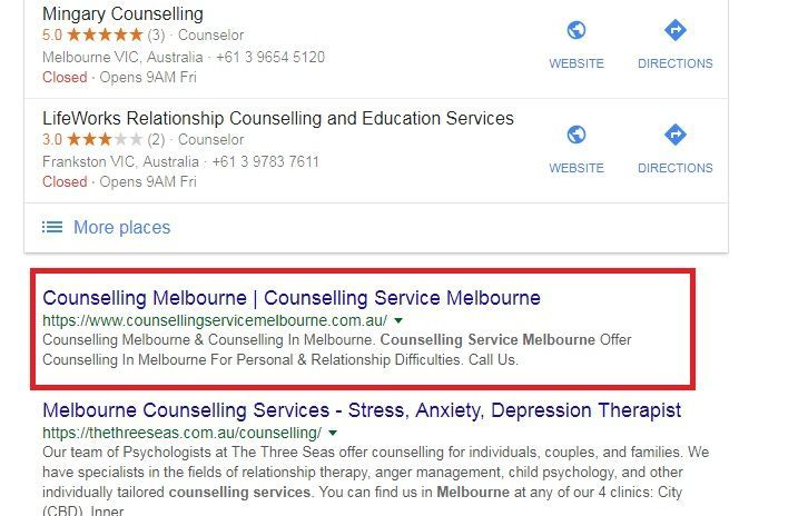 counselling-melbourne-seo-rankings