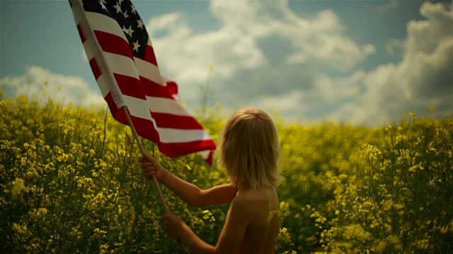 A young girl with an American flag in a field looking toward the horizon.