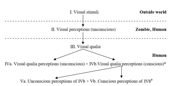 Effects of qualia and consciousness in p-zombie and human