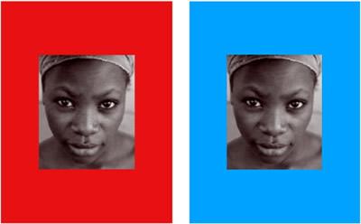 Фотография женщины на красном и синем фоне, использованая в эксперименте
