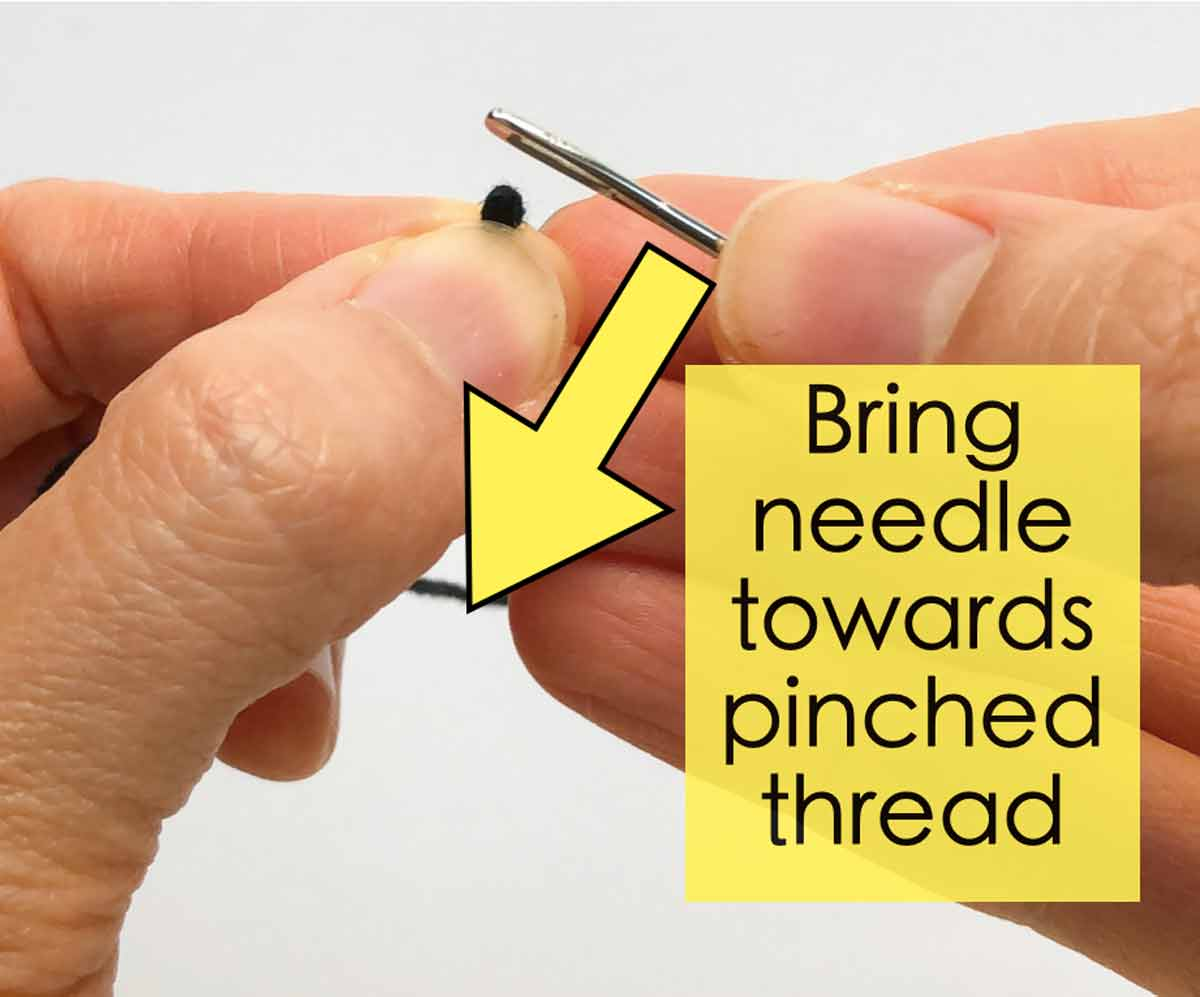 Bring Needle to Pinched Thread Loop