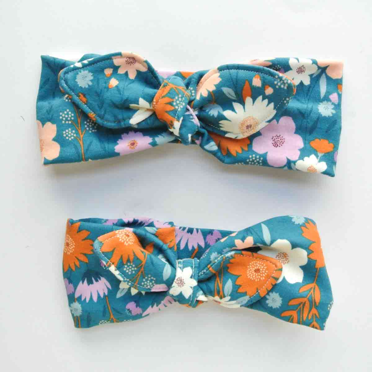 DIY Headband finished, adult and girls size with bow tied on both