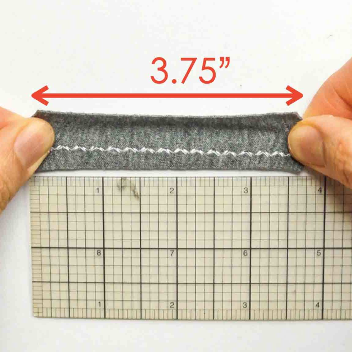 Reinforced zigzag stitch stretched out, measuring 3.75 inches
