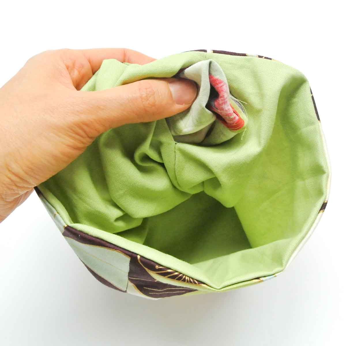Turning Dice to side right side through lining opening. Dice Bag Pattern