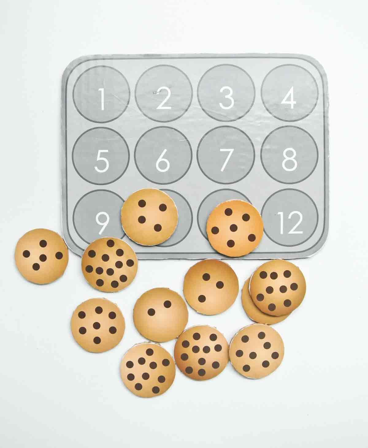 Finished Cookies with cookie sheet with numbers