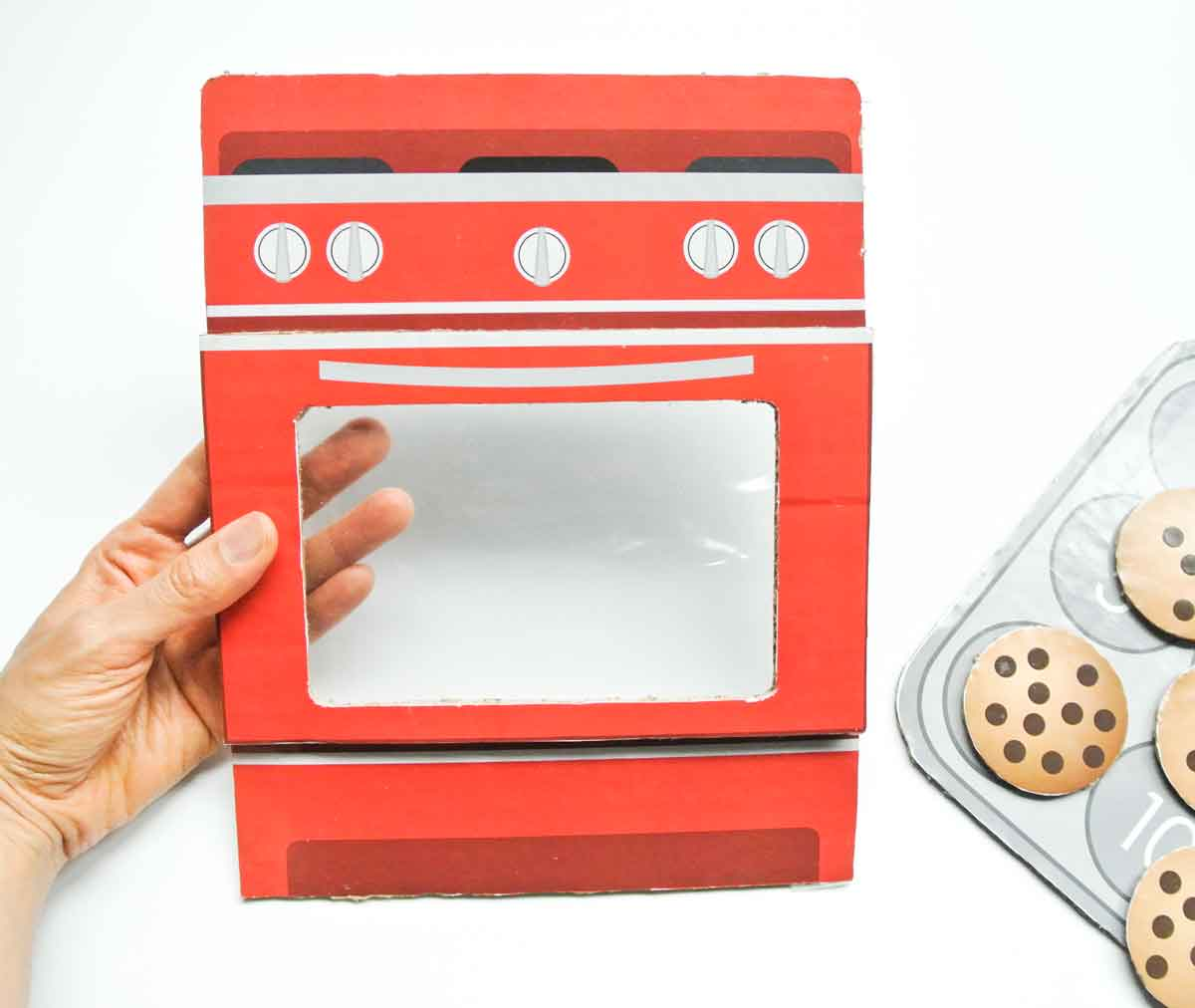 Finished oven for toddler number matching game