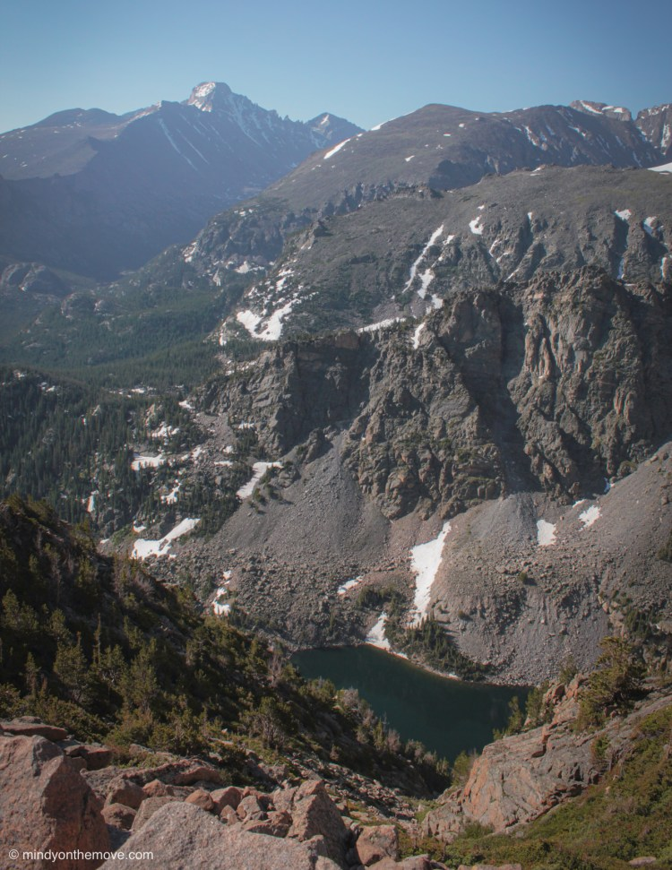 view of emerald lake from above on hike up Flat Top Mountain