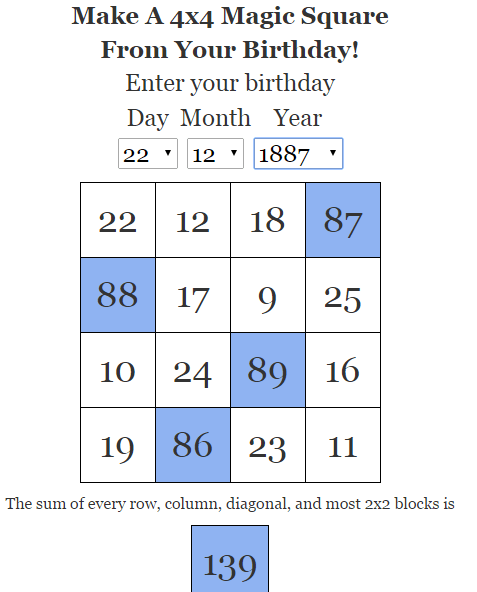 Magic squares from your birthday!
