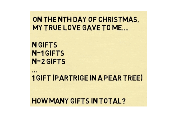 number of gifts in 12 days of christmas