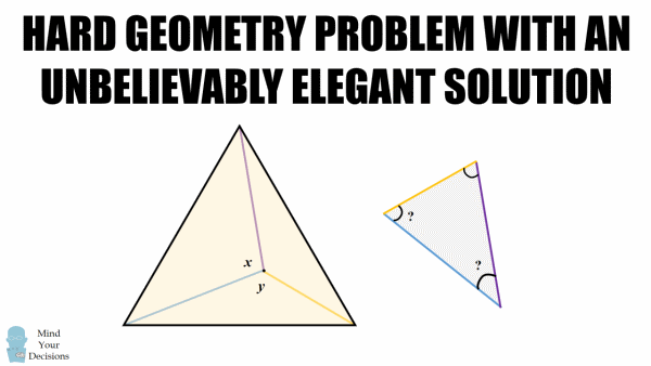 hard geometry problem unbelievably elegant solution mind  hard geometry problem unbelievably elegant solution