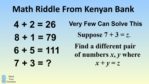 Math Riddle From A Kenyan Bank – Mind Your Decisions