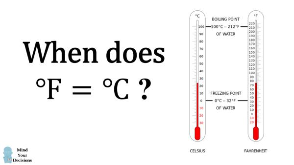 when does fahrenheit equal celsius   u2013 mind your decisions