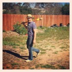 James in the community garden