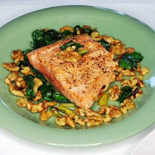 Sasha's Birthday 01b_Alaskan Wild Caught Salmon Sauteed in Flaxseed Oil on a bed of Walnuts and Swiss Chard