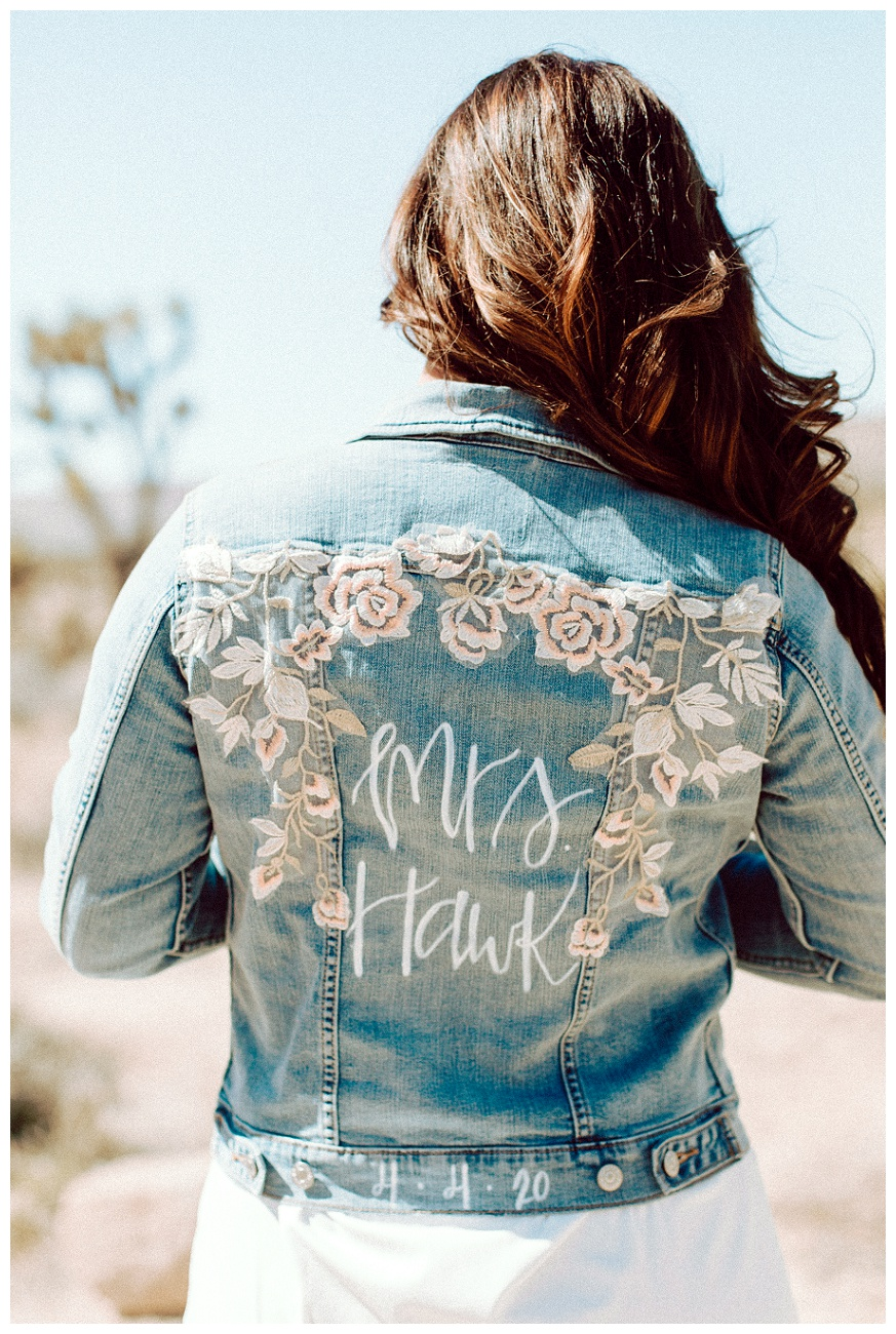 Mrs. Hawk jean jacket for the bride to be
