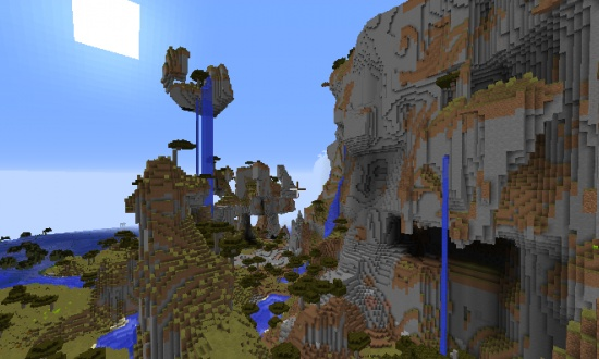 Canyon River With Gigantic Mountains Minecraft Seeds