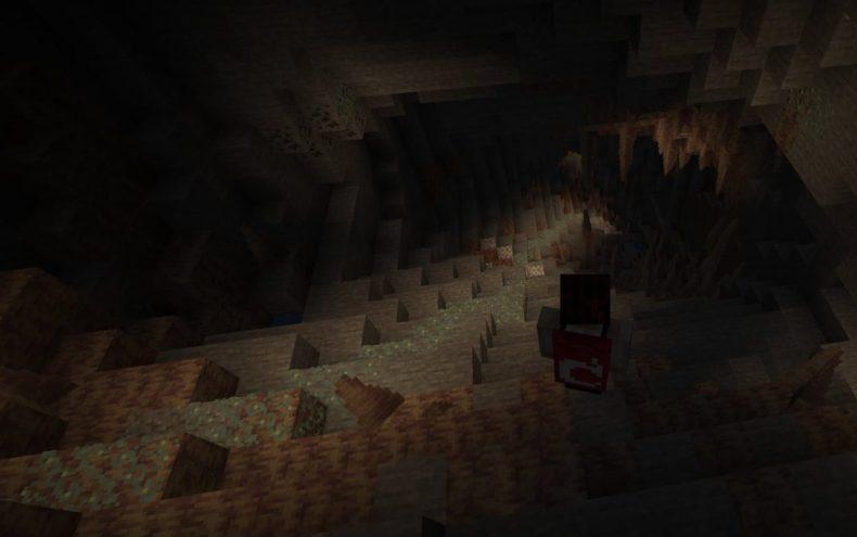 Liquen luminoso en una cueva en Minecraft.