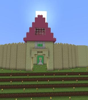 城門正面入口にお屋根付けました