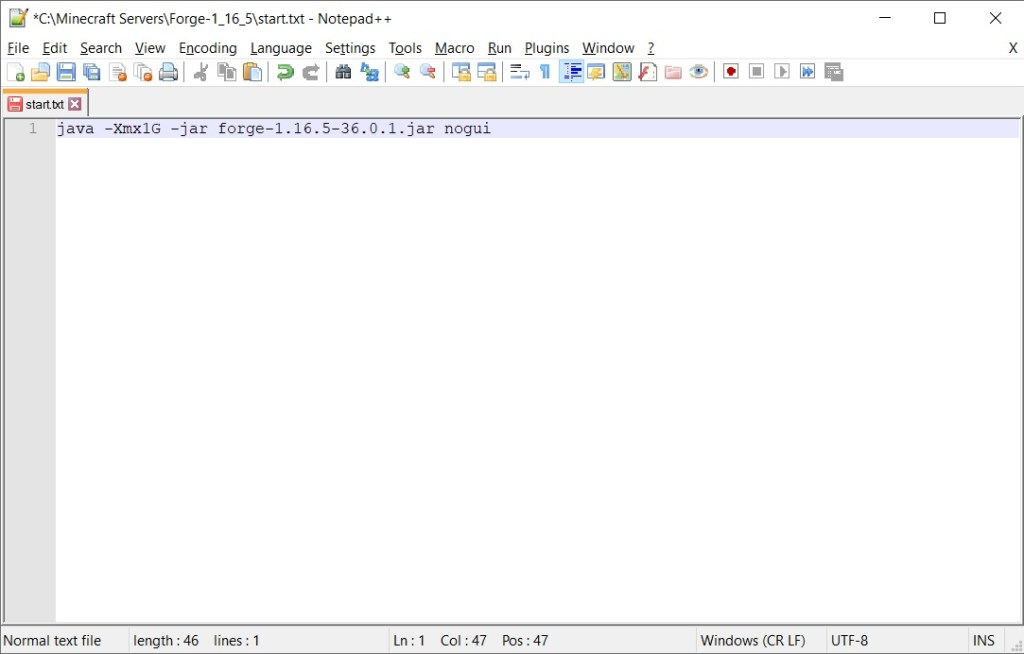 Start.txt contents in Notepad ++