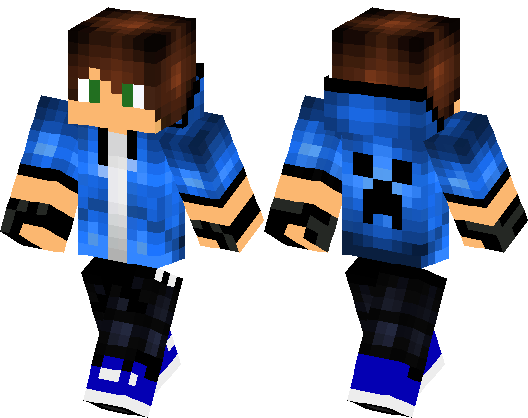 Blue Boy With Creeper Face On The Back Minecraft Skin
