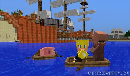 Oak bangka sa Minecraft.
