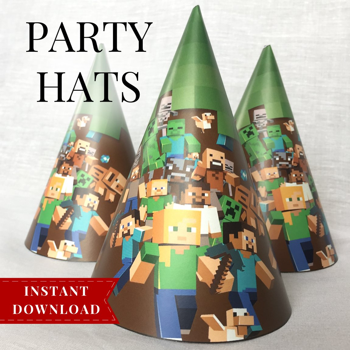 Minecraft Printable Party Hats