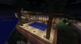 I recently built this pool behind the house on a hill overlooking the ocean. The lamps come on at sunset.