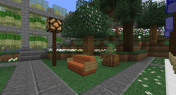 A bench, planter, and street lamp (which uses materials from Ender IO).