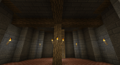 The interior at ground level. The floor is red brick, and I used oak logs to give the appearance of structural integrity.