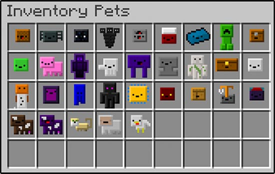 Inventory Pets Mod for Minecraft