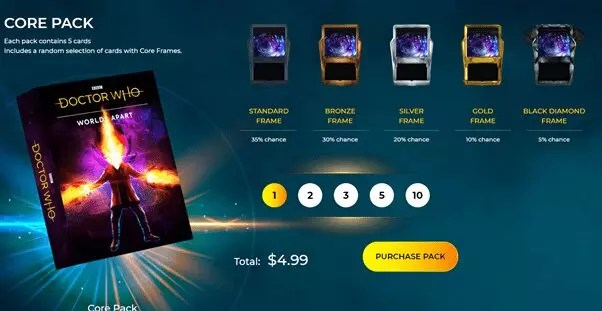5 digital cards in Dr. Who core pack