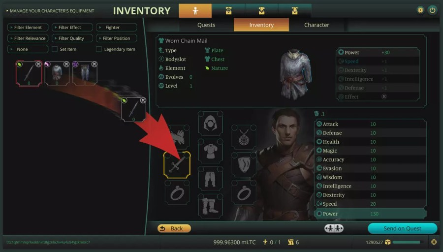 inventory for characters