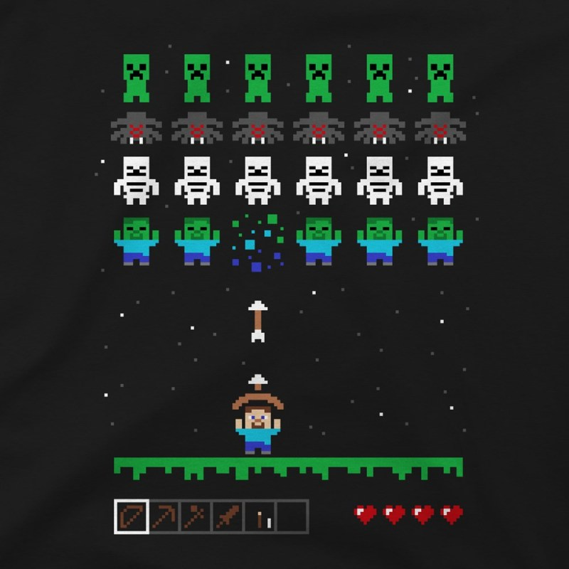Minecraft Invaders T-shirt1