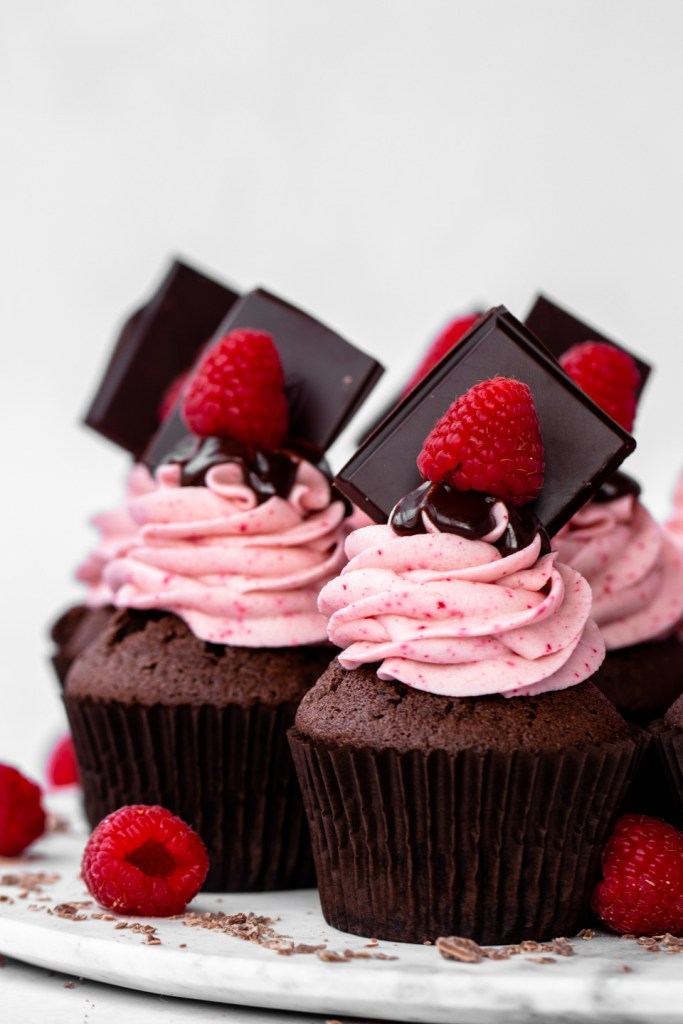 chocolate raspberry filled cupcakes group shot