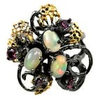 Opale rainbow grenat argent bague taille 7