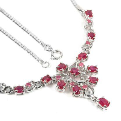 Ruby argent collier 45cm