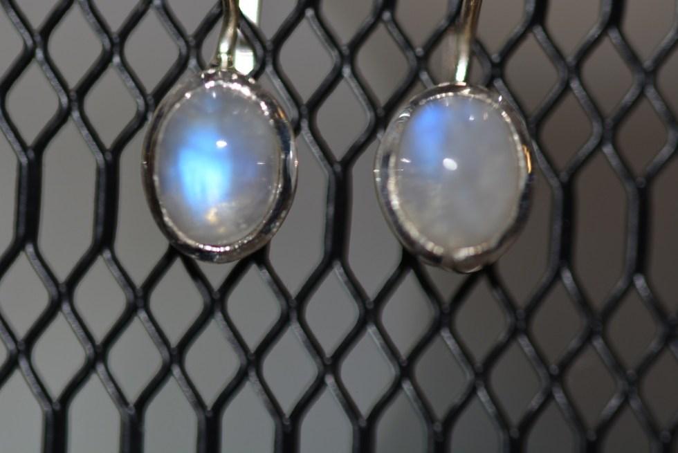 Boucles d'Oreilles en Labradorite Blanche Argent 925