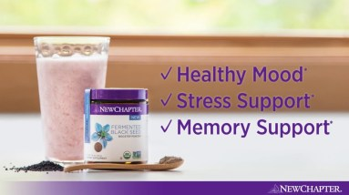 Black Seed Strawberry Smoothie with New Chapter® Fermented Black Seed Booster Powder