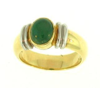 Anillo de oro de dos tonos de jade oscuro