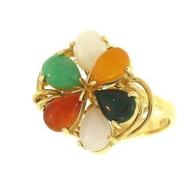 Anillo de oro jade multicolor