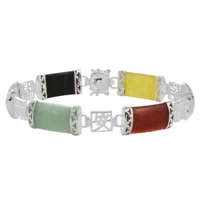 Pulsera de jade plateada multicolor