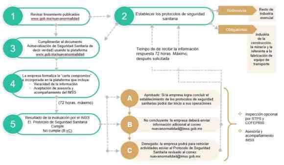 Proceso para establecer los protocolos y mecanismos de seguridad sanitaria en las empresas de acuerdo con los Lineamientos de Seguridad Sanitaria en el Entorno Laboral