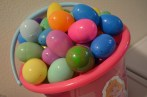 Big bucket of filled eggs!