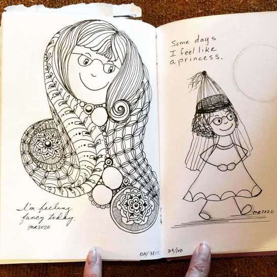drawing practice, positive self-talk, zentangle