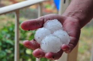 Golf Ball Hail Stones (Courtesy of Felicia and Peter Lau)