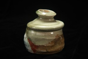 Small bottle for sake (or a vase), wood-fired markings, glazed in Korean celadon
