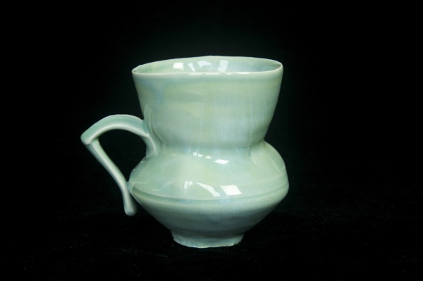 Porcelain mug, glazed in watercolor blue celedon